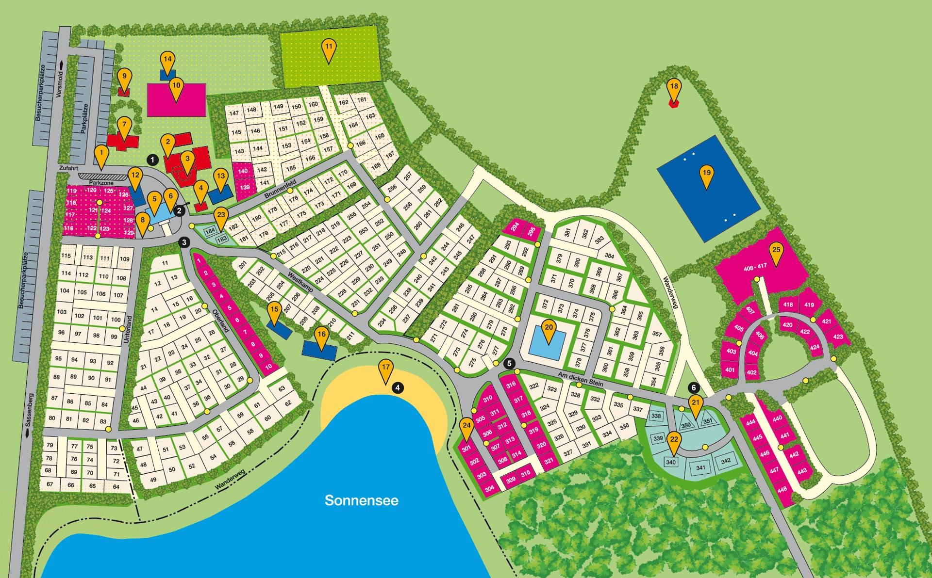 bersichtsplan campingpark sonnensee. Black Bedroom Furniture Sets. Home Design Ideas